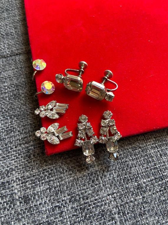 Vintage 1960s Lot of Four Diamante Screw Back Earrings