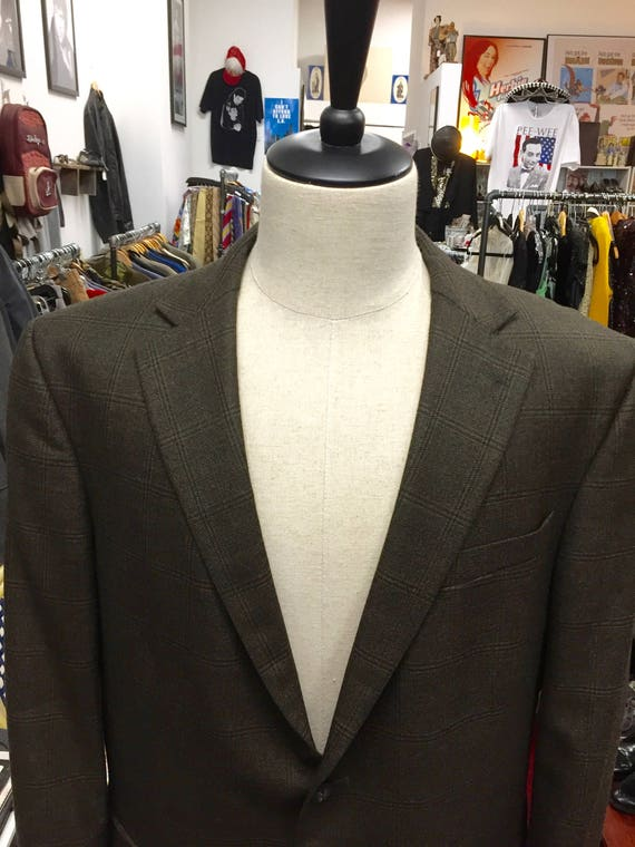 Vintage 1990s Geoffrey Beene Brown Wool  Men's Blazer Sports Coat Sz 44