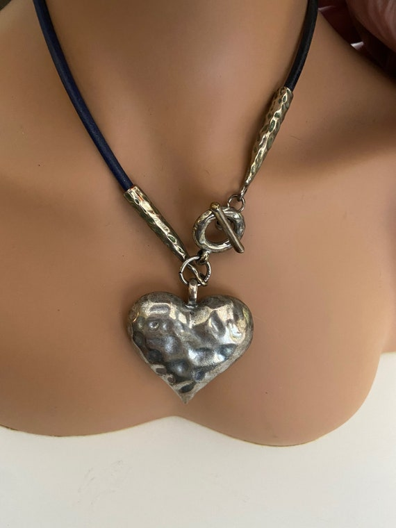Cute 90s Asymmetrical Leather Choker with Silver Toned Heart