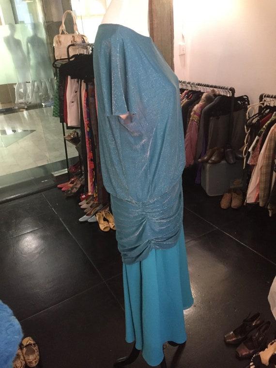 Glamorous Vintage 1980s Halston III Aqua Blue Dre… - image 4