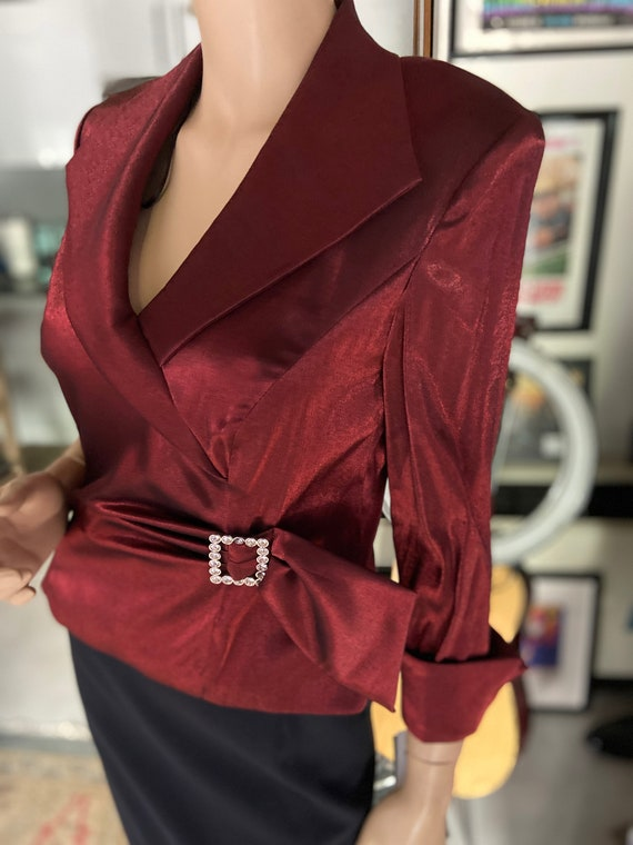 Vintage 1990s NWT Deadstock Lovely and Shiny Wine Colored Blouse from AJ Nites
