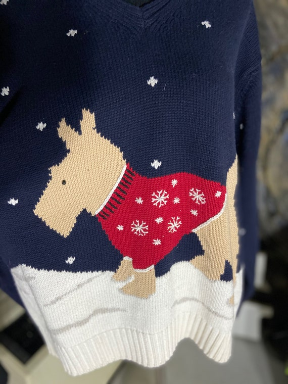 Adorable Liz Claiborne Scottie Dog  Christmas Holiday Sweater Size M