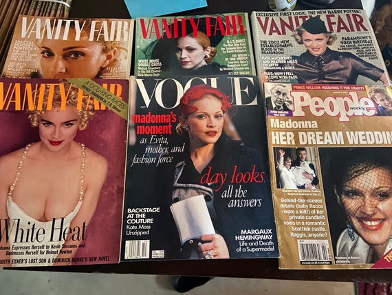 Collection of Six Madonna Magazines from the 90s to Early 2000s Vanity Fair, Vogue, and People