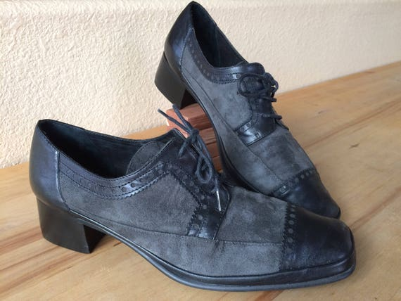 Rangoni Black and Gray,Soft Leather and Suede Oxfords,Size 8 AA,Made in Italy.