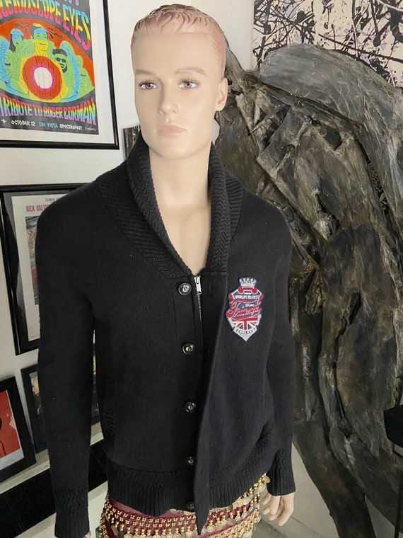 Cool Navy Blue Shawl Collar Zipper/Button Up Cardigan from Triumph Motorcycles