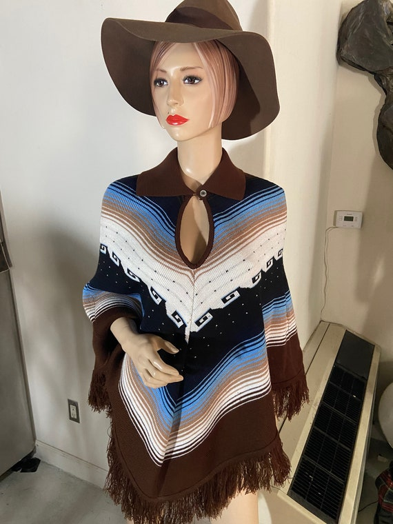 Lovely Brown, Blue, and White Knitted Poncho