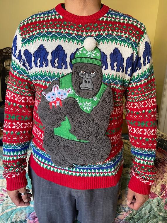 Adorable Koko the Gorilla and Kitten Christmas Sweater Sz L