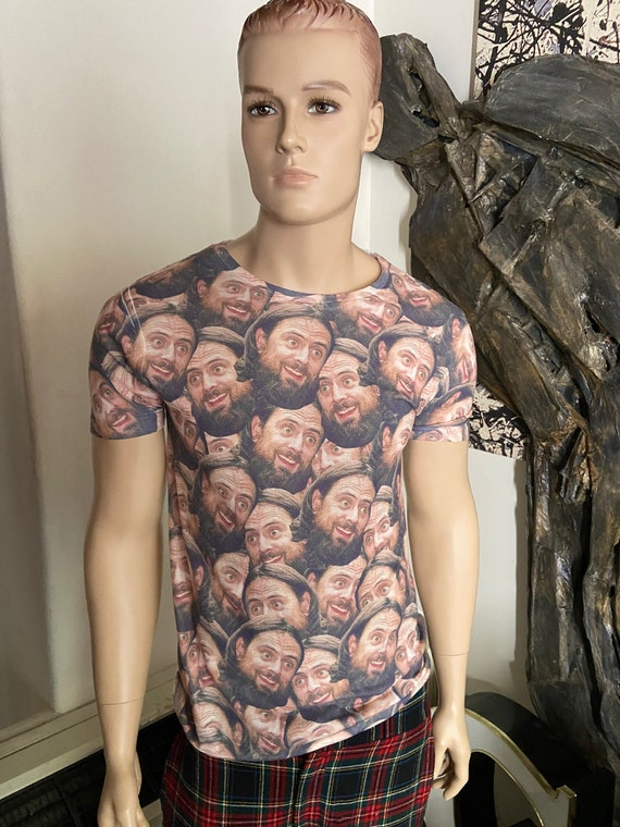 Bearded Dude Faces All Over the Front Tee with White Back