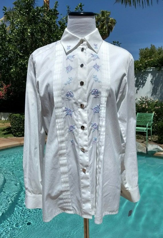 Charming White Escada Cotton Blouse,Light Blue embroidered Flowers