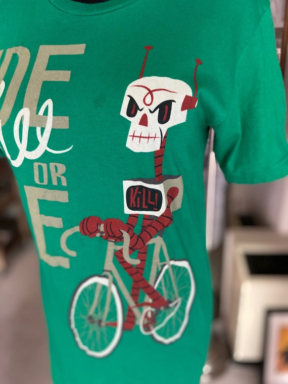 Green Gama-Go Skull Robot Ride Free or Die Tee TShirt Size Small