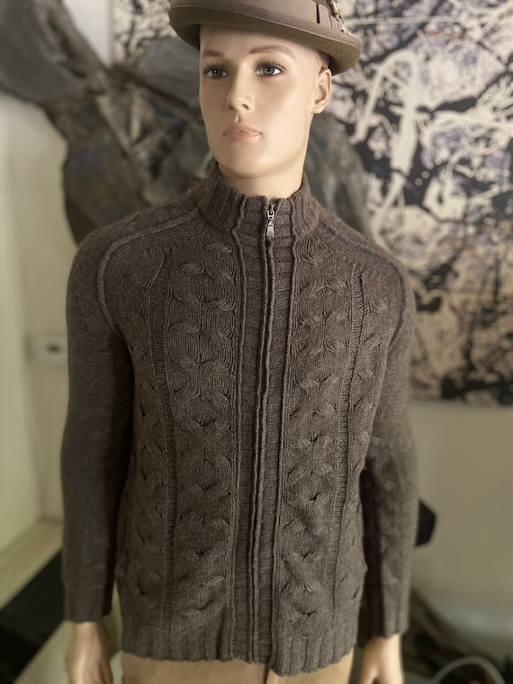 """Grey Ted Baker Cable Knit Cardigan Wool and Yak Sweater with Zipper and Pockets Size 42"""""""