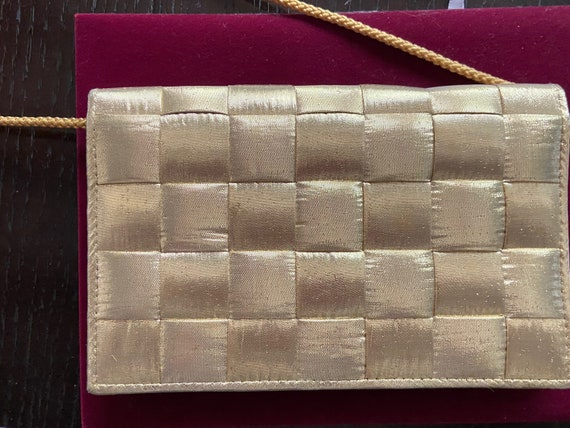 Cute Gold Quilted Lame Bag with Nylon Strap