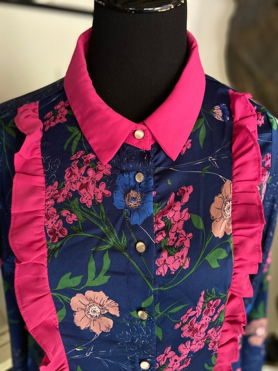 Beautiful Floral Print Purple, Blue, and Pink Ruffled Women's Bouse