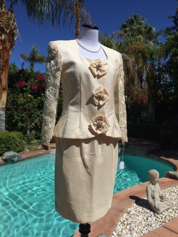 Victor Costa Vintage Ivory Dress Suit with Pearl and Diamante Buttons and Lace Sleeves,Size 10,Made in USA,Mother of the Bride