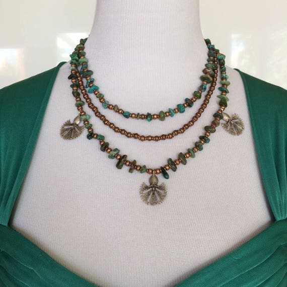 Triple Strand Egyptian Collar Turquoise, Copper, Sterling Silver Clasp
