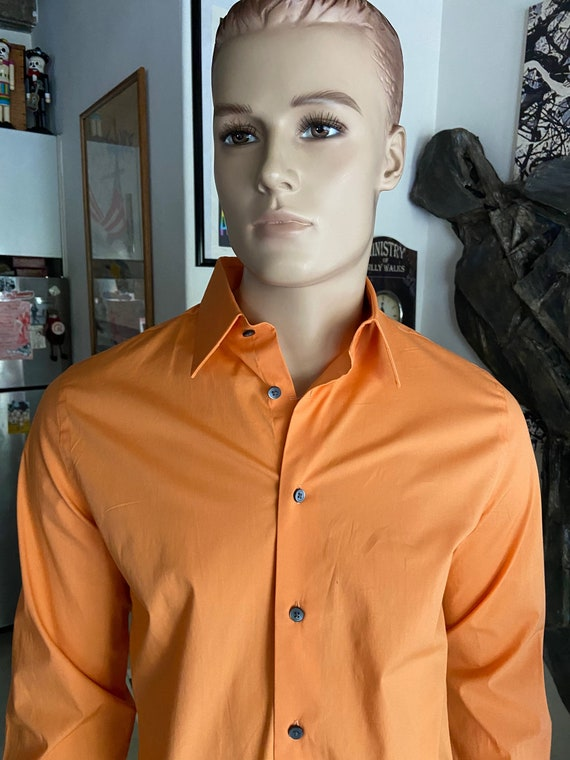 Men's Orange Button Up Oxford Shirt from Express 1MX Slim Fit Size 15-15 1/2