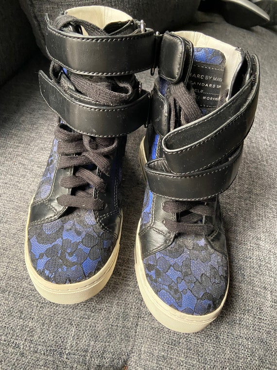 Cute Marc by Marc Jacobs Purple and Black Lace High Top Tennis Shoes Size 36