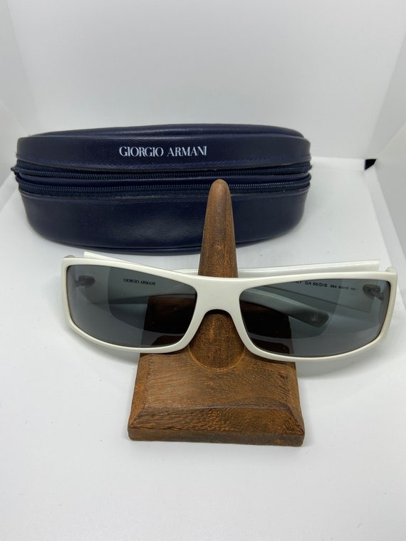 Giorgio Armani White Rectangular Lens Sunglasses with Engraved Flowers on Stems with Soft Armani Case