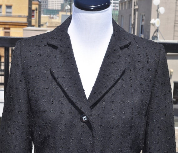 Black Perry Ellis Women's Blazer with Diamante Buttons Sz 8