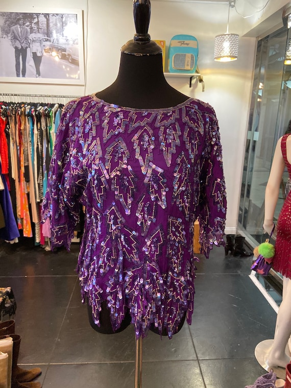 Gorgeous Purple 1980s Vintage Silk and Sequined Blouse from Carina