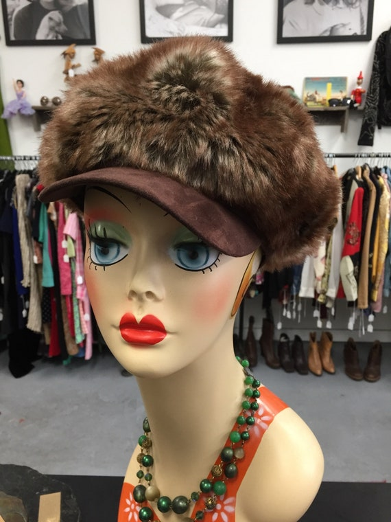 Fabulous Faux Fur Cap with Suede Bill