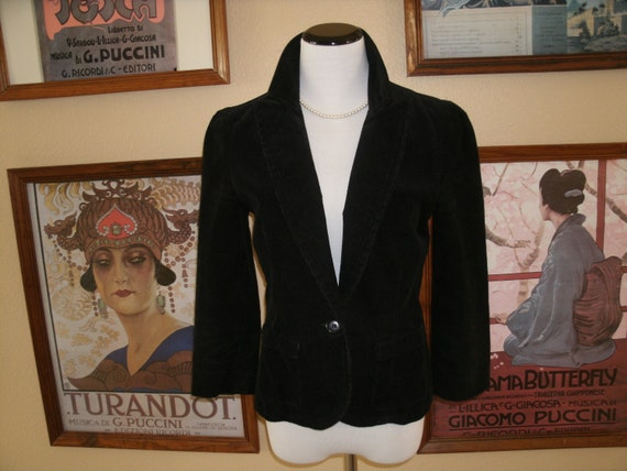 Lovely Black  Short Corduroy Jacket with One Button Front,Size Medium,Juicy Couture Jeans.