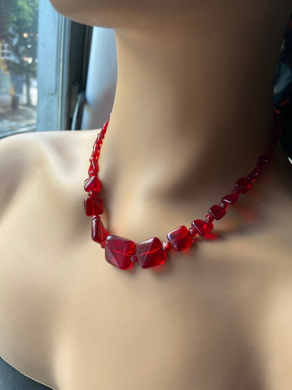 Beautiful Vintage 1960s Red Glass Beaded Choker Necklace