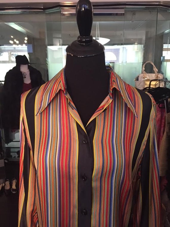 Gorgeous 1980s Escada  Colorfully Striped Silk   Blouse Sz 38