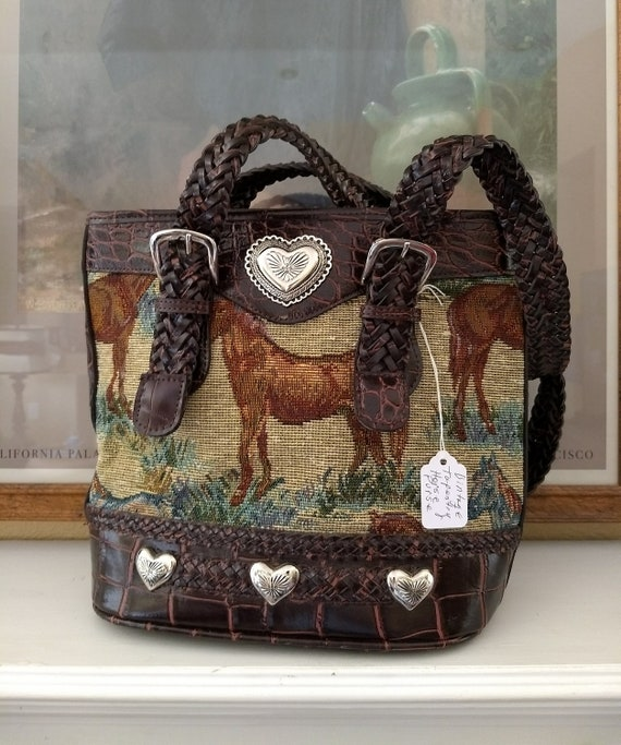Cute Horse Tapestry Shoulder Bag with Braided Strap,Metal Adornments
