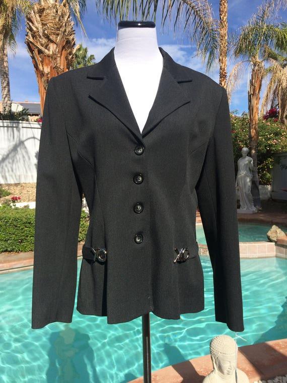 Vertigo of Paris Black Jacket with Stainless Steel Accents,Size Large.