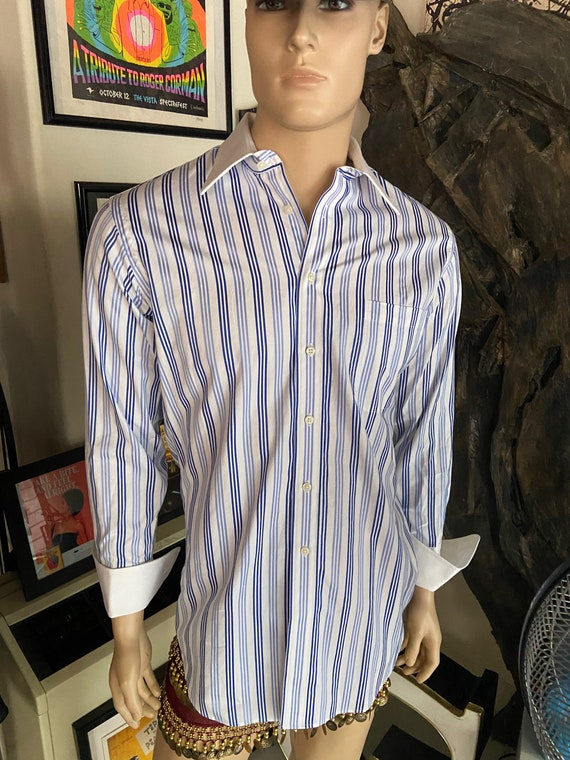 Men's Paul Frederick Blue and Whited Striped Collared Button Down Shirt with French Cuffs Sz 15 1/2