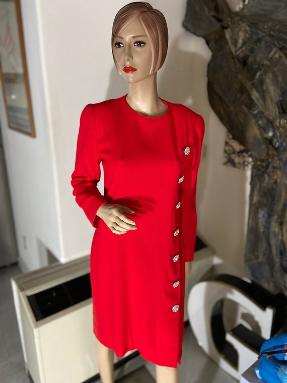 Stunning David Hayes for Saks Fifth Avenue  1970s Early 1980s  Red Dress with Diamante Button Accents