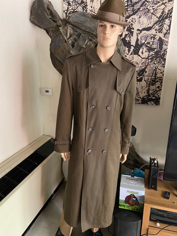 Vintage 1980s Christian Dior Monsieur Khaki Green Raincoat Trench Size 44R XL