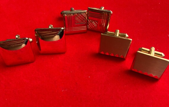 Vintage 1970s Lot of 3 Gold-Toned Pairs of Cuff Links