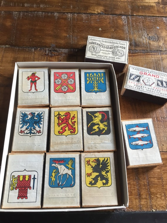 Set of 12 Vintage Midcentury Swedish Matchboxes  from Jonkoping Match Museum