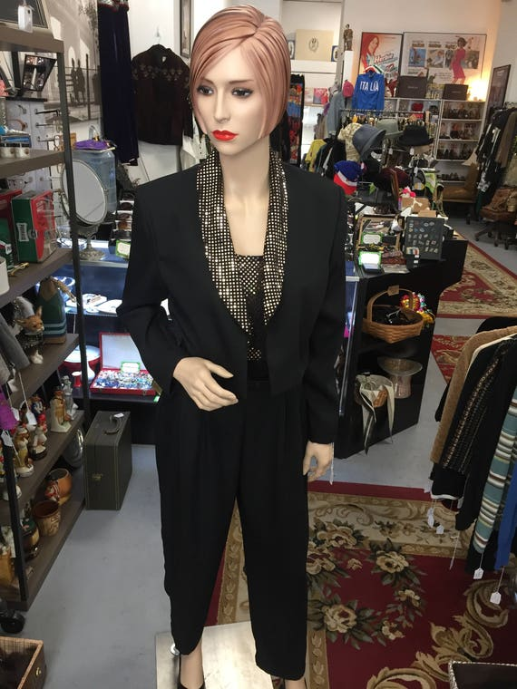Vintage 1980s John Roberts Gold And Black Jumpsuit With Jacket Etsy