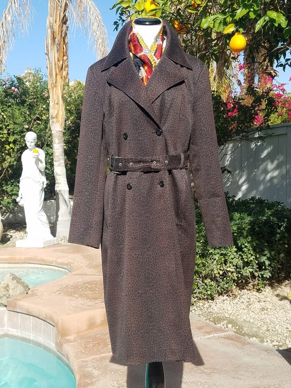 Classiques Entier Vintage 90's Brown and Black Trench Coat. Size Large.
