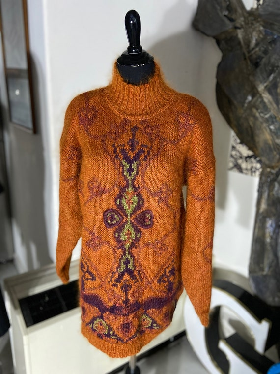 Beautiful 1980s MohairJean Pierre Orange and Gold Mohair Sweater Size Medium