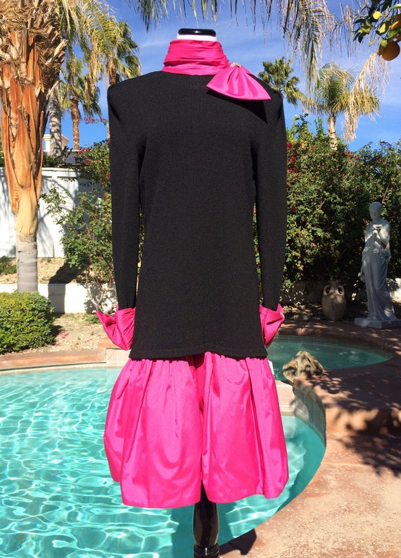 Charming Raul Blanco 2 Piece Black and Pink Cocktail/Evening /Prom dress,Vintage 90's.