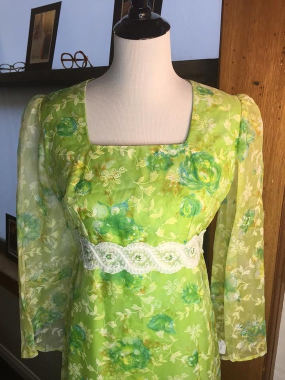 Vintage 1960s Pretty Green Bohemian Prairie Maxi Dress with Flowered Applique and Embroidered Sash