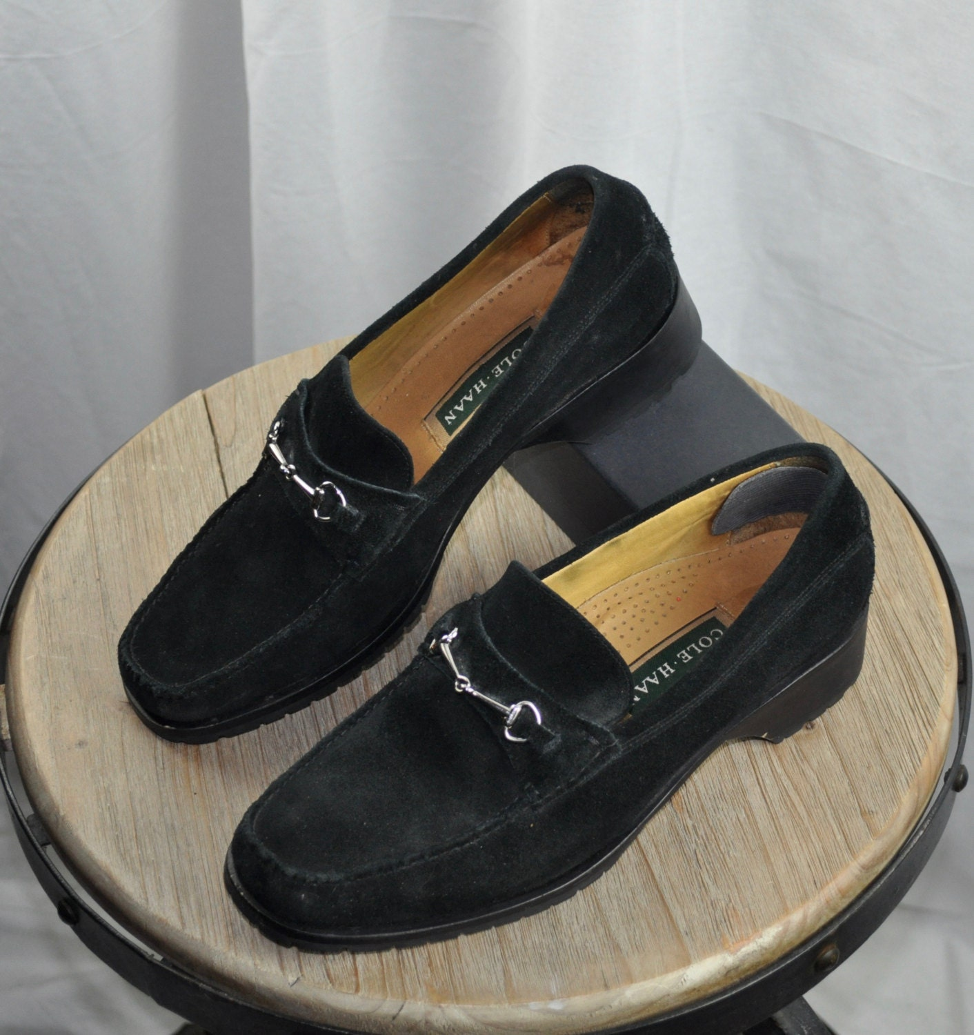 ad975878c81 Women s Cole Haan Black Suede Loafer with Silver Buckle Sz 9.5 (9 1 ...