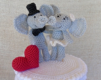 Elephants et Coeur, wedding cake topper, figurine de mariage pour votre gâteau