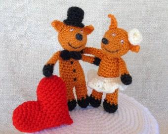 Renards et Coeur, wedding cake topper, figurine de mariage pour votre gâteau