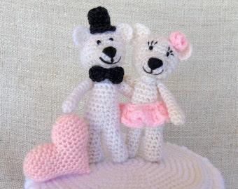 Ours et Coeur, wedding cake topper, figurine de mariage pour votre gâteau