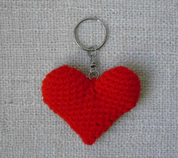 Rotes Herz Schlüsselanhänger gehäkelt | Etsy
