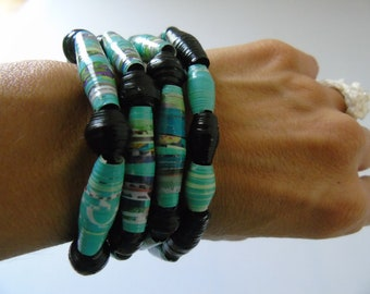 Bracelet and necklace 2 in 1 beads in turquoise blue paper anti allergy