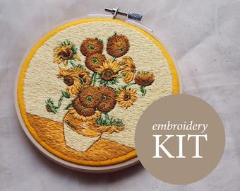 Sunflowers embroidery kit, Van Gogh embroidery DIY kit, Sunflowers hoop art kit