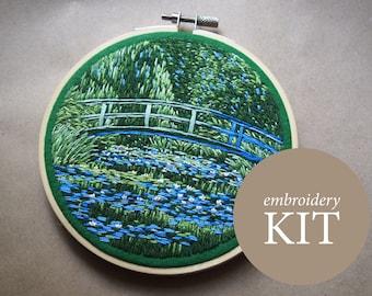 Claude Monet Japanese Footbridge embroidery kit, Claude Monet embroidery DIY kit, Water Lilies hoop art kit