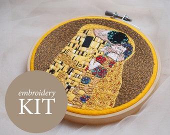 The Kiss embroidery kit, Gustav Klimt embroidery DIY kit, The Kiss hoop art kit