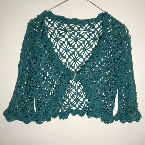 Crochet cardigan, ruffled collar, teal cardigan, 7